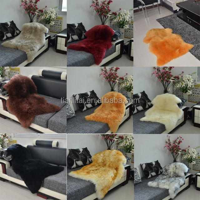 Luxury Faux Sheepskin Lambskin Natural Long Wool Fur Rug for bedroom and home other decoration
