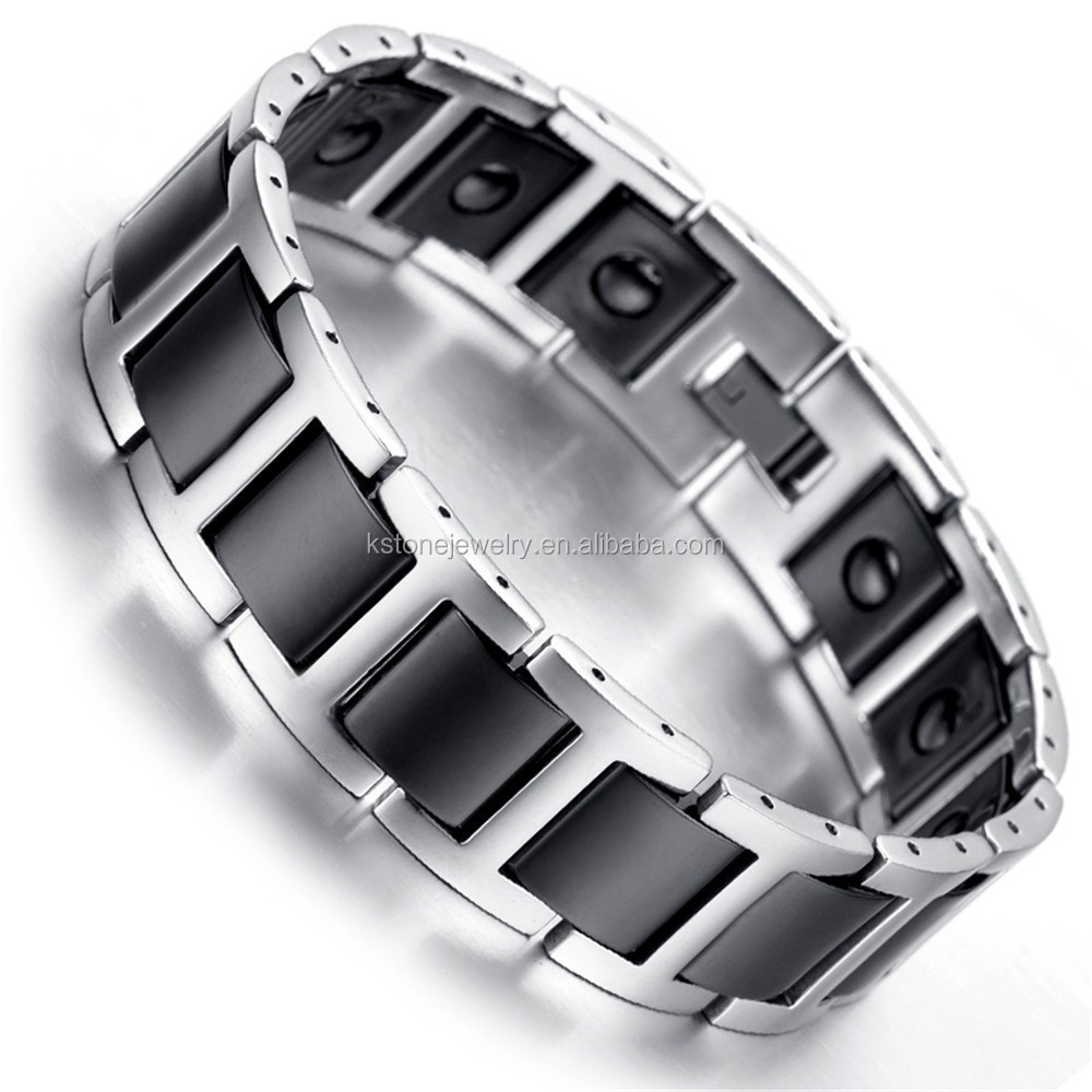 bracelet magnetic tungsten carbide link p discount pain therapy mens for arthritis relief
