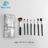 Custom logo nylon hair 7pcs makeup brush set in PU bag