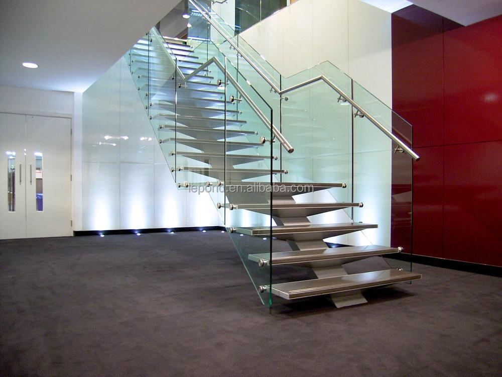 N119 creater madera casa escaleras de vidrio fabricante - Escaleras de vidrio ...