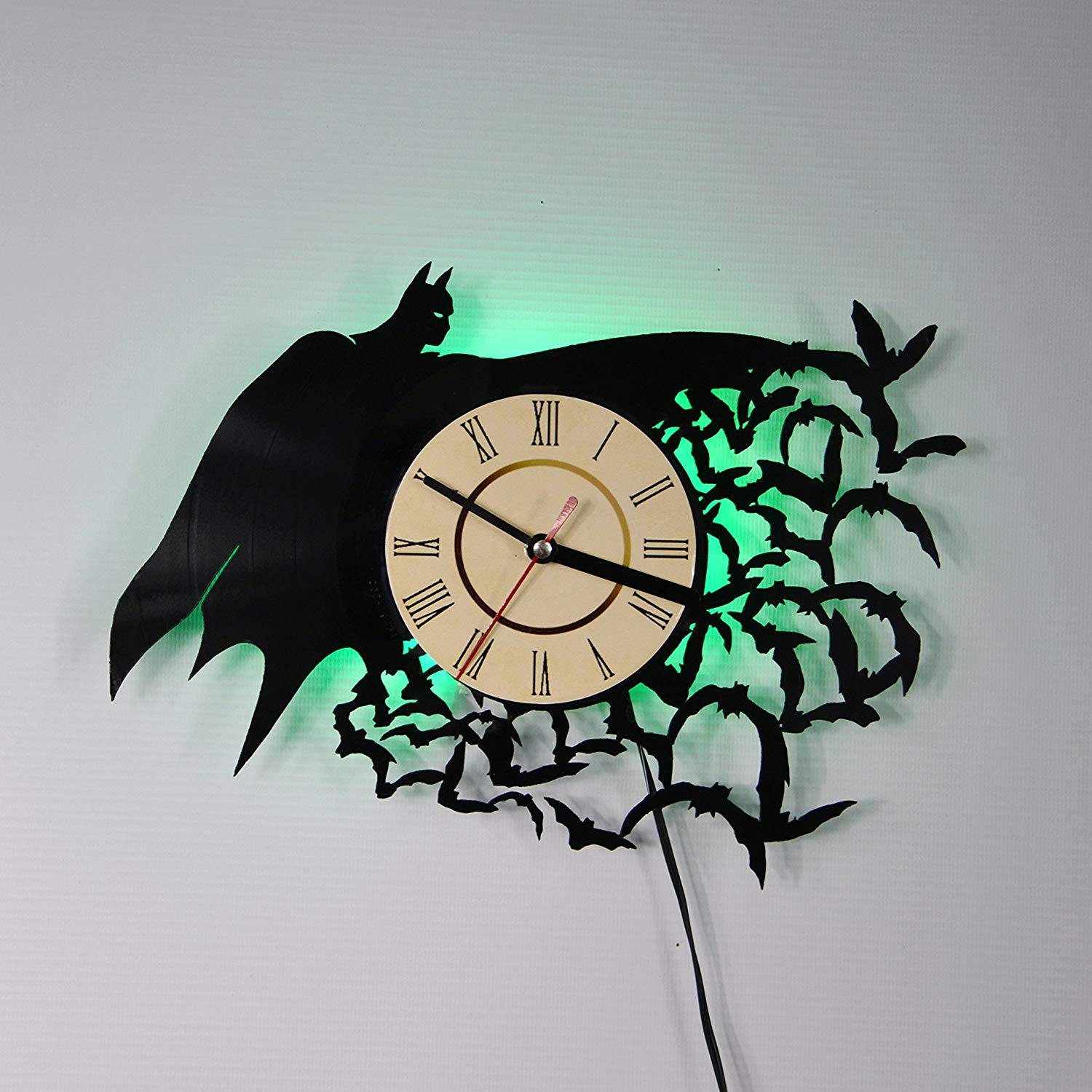 BATMAN SUPERHERO Green Led LED Backlight Vinyl Wall Clock Night Color Change Atmosphere Light Lamp Creative Classic Cool Living Room Interior Decor Led Time Clock With Color Red Light