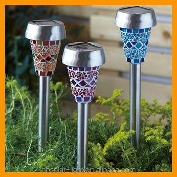 Mosaic Solar Powered Garden Stick Lights
