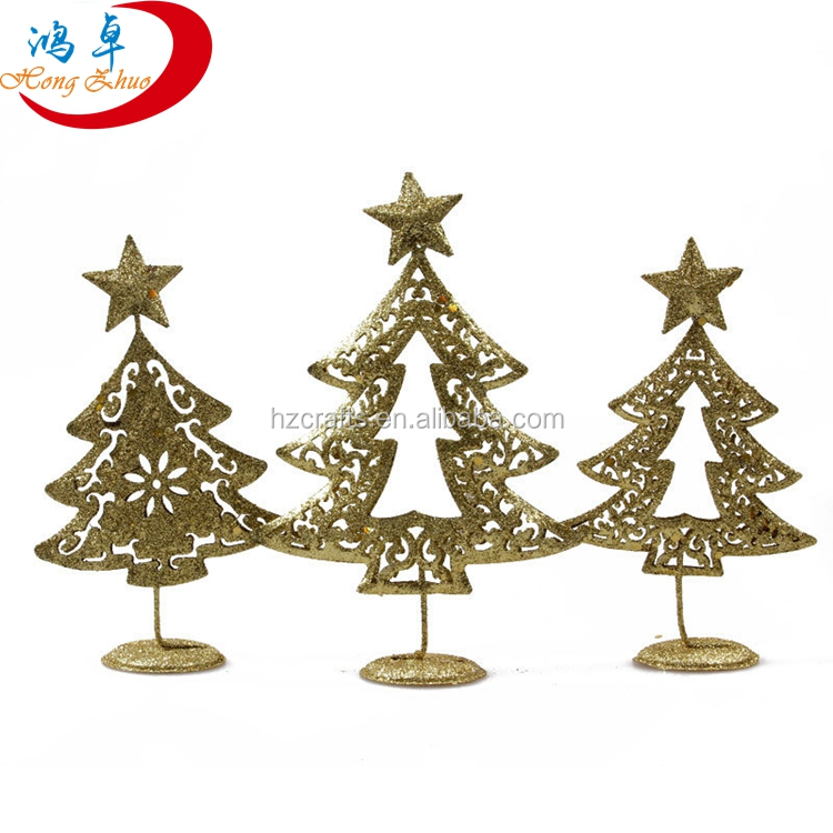 Christmas small ornament golder powder iron craft mini artificial christmas tree