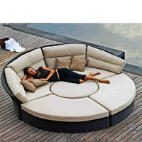 2018 New Design Patio Wicker Garden Furniture Sofa Bed Double Deck Bed Rattan Outdoor Furniture