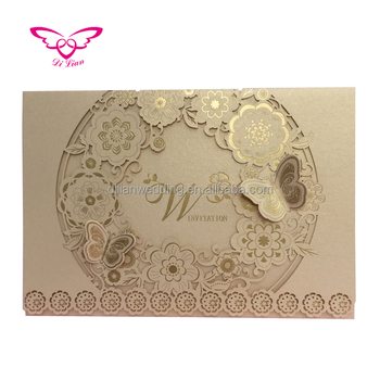 honey garden flower series gold color muslim wedding cards - Muslim Wedding Cards