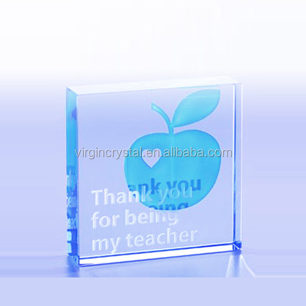 Custom Crystal glass Block Paper weight Set With High Quality For Father's Day Gift/desk gift/office decoration