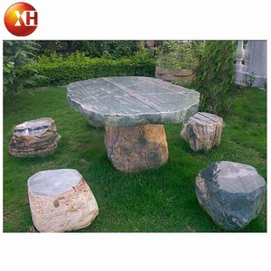 Garden green jade round marble stone dining table set