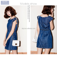 New denim Casual sweet thin sleeveless dress design women bodycon dresses