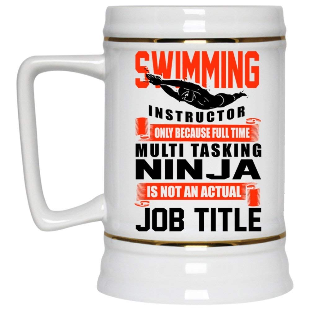 9910a1a17b052 Get Quotations · I Am A Swim Instructor Beer Mug, Swimming Instructor Beer  Stein 22oz (Beer Mug