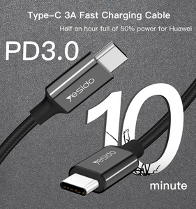 Fast Charger PD 3.0 1.2M USB C type-c Nylon Braided QC Charging 3A USB-C Type C Data Line Cable