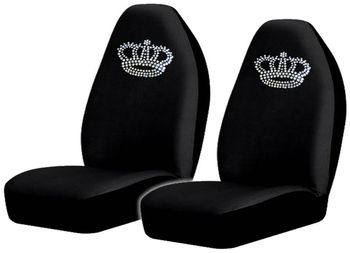Crown High Back Seat Covers With Gem Crystals