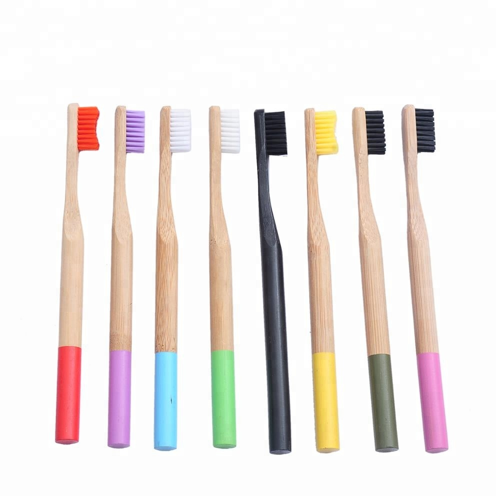 Simple style handmade harmless nonirritating colorful bristle toothbrush bamboo
