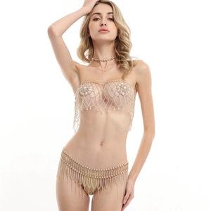 Bra Body Jewelry Women Set Cover Panties Sexy Transparent And Underwear Nipple Panty wkOX8n0P