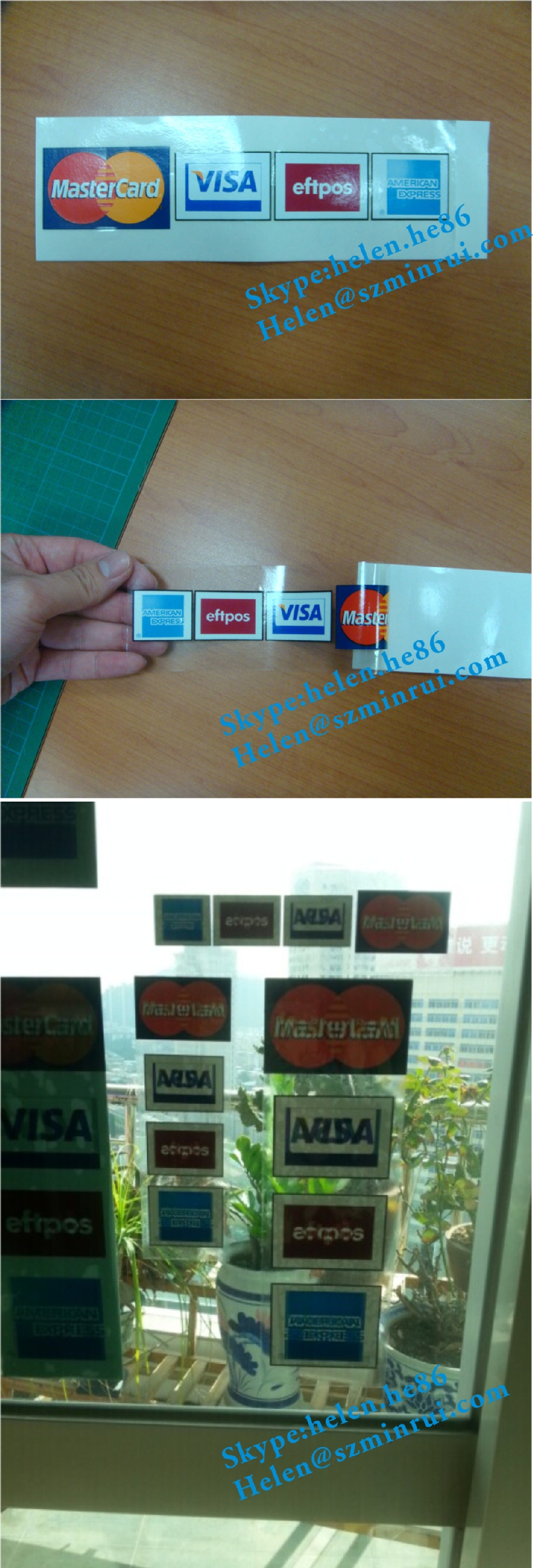 Custom Double Side Printed Mastercard Vinyl Stickers For