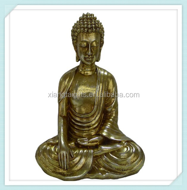 Full Size Polyresin Meditating Silver Buddha Statues For Sale