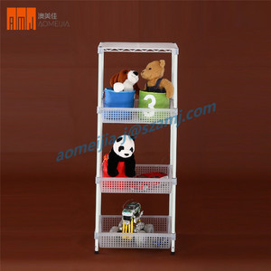 Custom 4 layer basket assemble adjustable plastic coated wire shelving