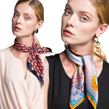 Top Quality Decoration Soie Small Neck Satin Silk Square Scarves For Women