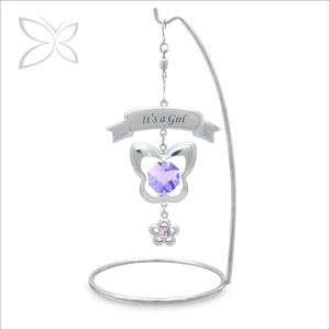 Stylish Sliver Plated Crystals Souvenir For Birth Of Baby