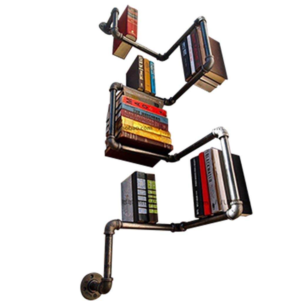 Gspsgj Vintage Wrought Iron Pipes Creative Wall-Mounted Shelf Industrial Plumbing Shelves Living Room Decorative Bookshelf