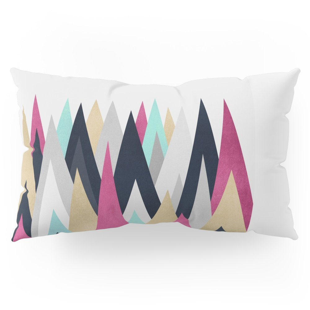 "Society6 Gold, Pink And Navy Peaks Pillow Sham King (20"" x 36"") Set of 2"