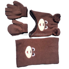 Newest wholesale cute winter kid's knitted hat scarf glove set with animal ear