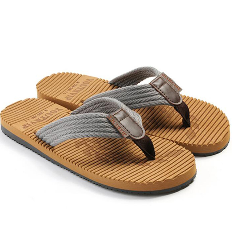7f6a38799590 Latest Embossed Sole Design Cotton Fabric Upper Summer Mens Flip Flops