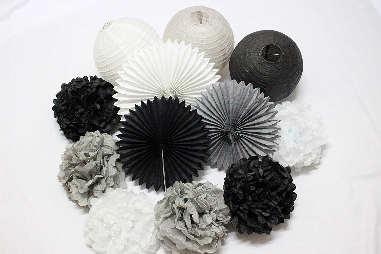 12 pcs mixed black gray white tissue pom poms paper lanterns paper fan for birthday party
