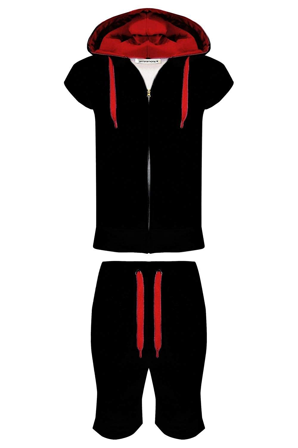 d68bb6d9e7e Mens Fleece Contrast Gilet Hoodie Joggers Summer Short Pants Jogging  Tracksuit