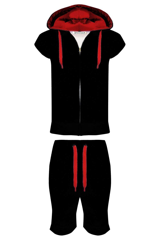 7e2800cb Mens Fleece Contrast Gilet Hoodie Joggers Summer Short Pants Jogging  Tracksuit