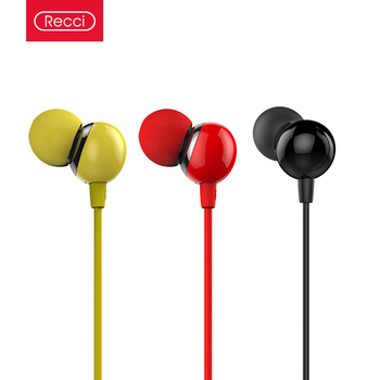 Recci computer bass stereo earphone with microphone for iphone
