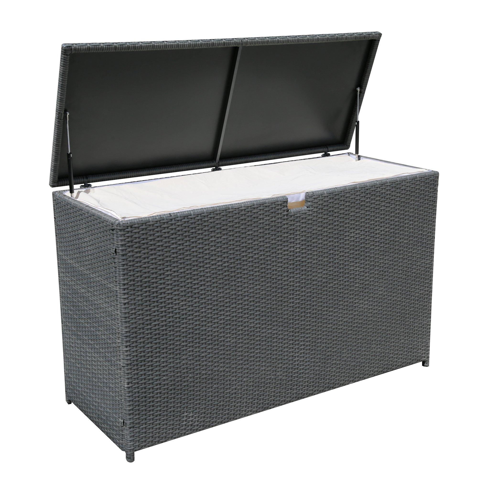 Merveilleux Get Quotations · PATIOROMA Outdoor Patio Aluminum Frame Wicker Cushion Storage  Bin Deck Box, Gray