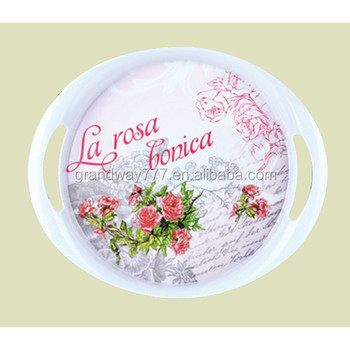 Round Melamine Serving Tray With Handle Buy High Quality