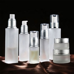 China Made frosted white glass bottles and glass jars cosmetic packaging sets