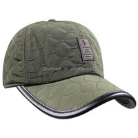 Mens Winter Fall Cotton Padded Quilting Plaid Baseball Cap Hat with Earflaps