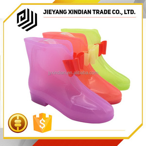 2018 pvc transparent custom womens rain boots with bowknot