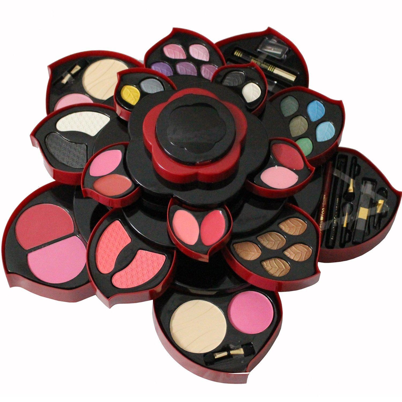 New Makeup Palette eye shadow box Rotating flowering 21 Colors Eyeshadow+6 colors lip gloss +5 colors powder+ 3 colors +eyeliner ect blush With Eye Primer Luminous Eye shadow Palette (1pcak)