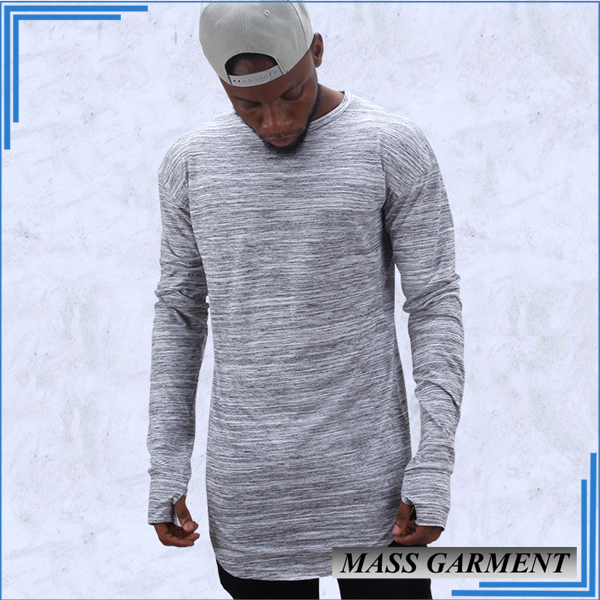 Cheap Wholesale Longline Plain Hip Hop Men's T-shirt