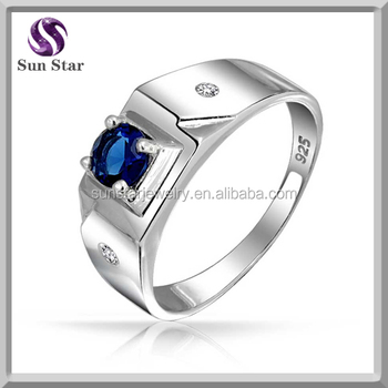 classical round solitaire blue sapphire mens silver engagement ring - Mens Sapphire Wedding Rings