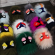 Monster Decorative Ball Key Rings/ Cute Little Monsters Women Raccoon fur ball Monster Face