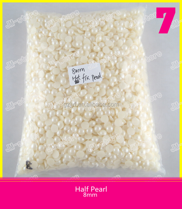 Wholesale Plastic Hot Fix Half Round Pearl 6mm for Clothes Decoration