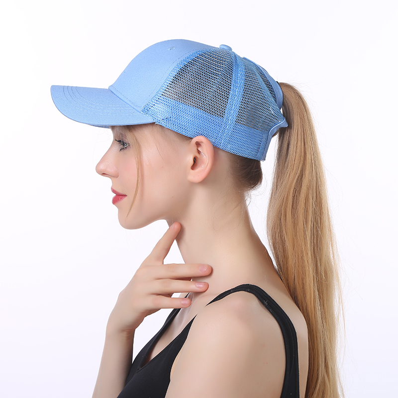 Fashion Running 6 Panel Women's Golf Hat Custom Full Trucker Mesh Sun Visor Sport Ponytail Baseball <strong>Cap</strong>
