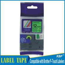 Compatible 12mm black on green labeling tape for Brother TZ-731