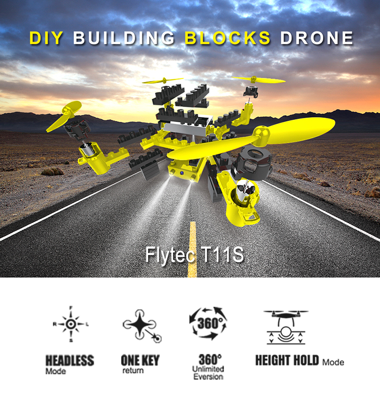 1. T11S_Yellow_WIFI_FPV_DIY_Building_Blocks_Drone_with_0.3MP_Camera_RC_Drone
