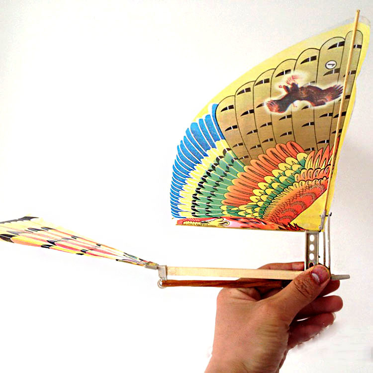 Flying Bird Toy : Rubber band powered flying bird toy