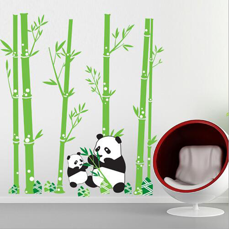 Factory outlets] JM7169 panda bamboo background bedroom stickers Third Generation Environmentalism removable wall stickers wall