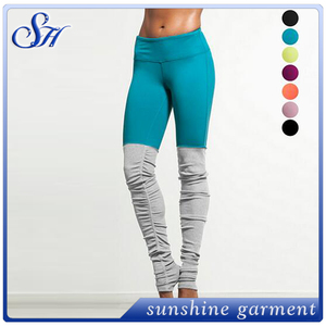 Europe and the United States popular candy-colored color hip-tight stitching running trousers trousers foot trousers yoga