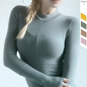 Wholesale Factory Directly Ladies Compression Knit Long Sleeves Shirts High Neck Slim Fitness Gym Yoga Women Athletic T Shirt