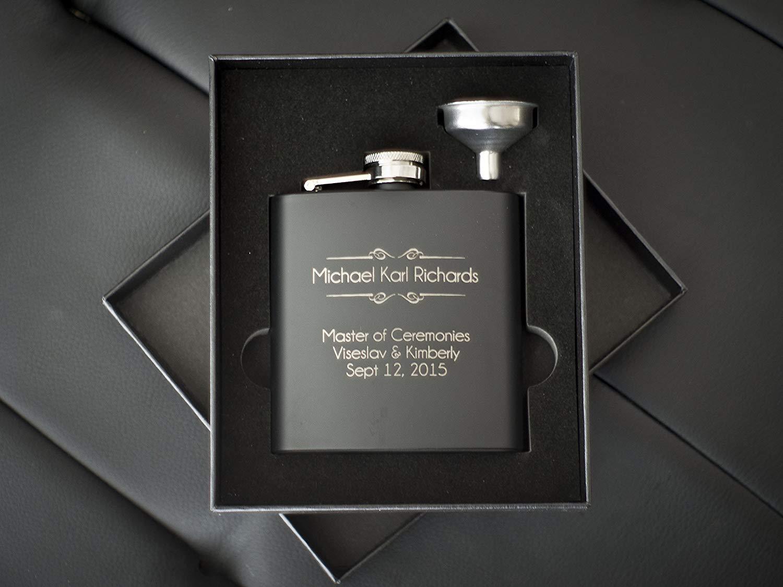 Personalized Flask Set- Engraved Custom Flasks, Groomsmen Gift- Groomsman Gifts For Men, Wedding Favor Customized Wedding, Monogrammed Father Man Hip Gift Set w/Box #304 Steel - Matte Black 2pc Set