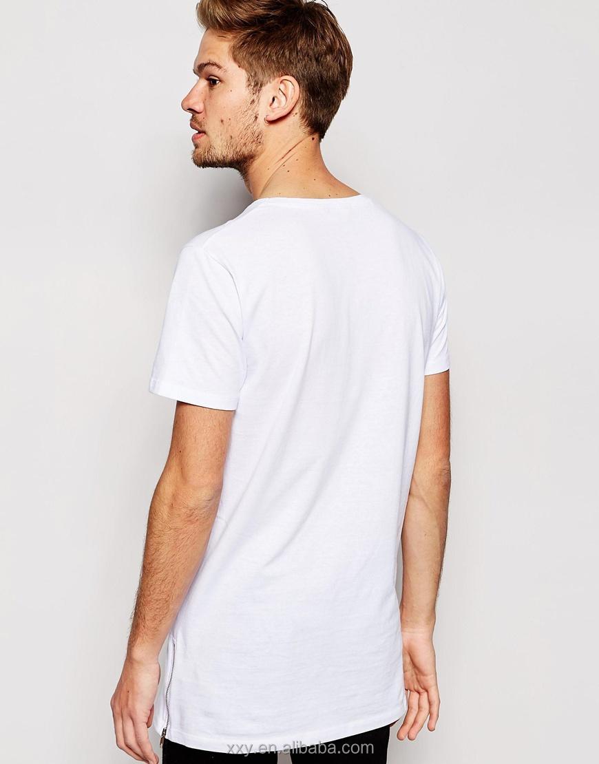 Fashion Mens Extra Long T Shirts Side Zip T-shirt Blank White T Shirts No  Logo - Buy Mens Extra Long T Shirts,Zip T-shirt,White T Shirts No Logo
