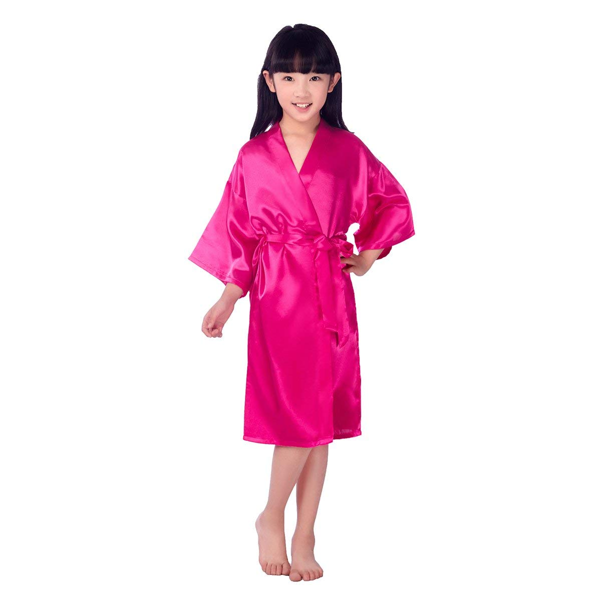 0ecd2d0940 Get Quotations · LUOEM Kids Satin Robe Kimono Robe Spa Stain Bathrobe  Nightgown for Party Birthday Size 8 (